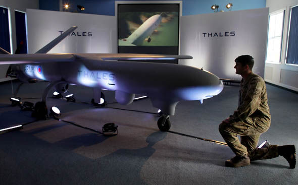 A Watchkeeper drone on display