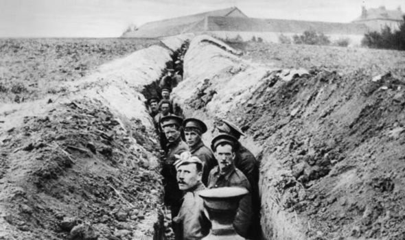 British troops in the trenches during the First World War