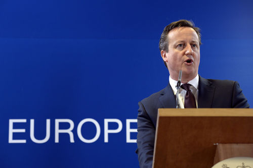 Cameron at podium