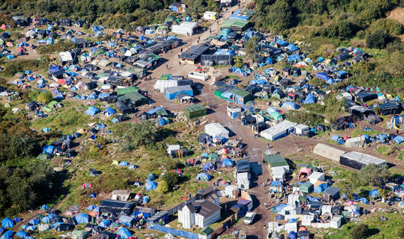 An aerial view of the Jungle migrant camp