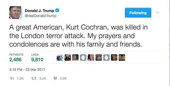 Donald Trump paid tribute to Kurt Cochran