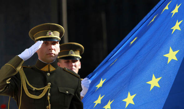 Soldiers salute the EU flag