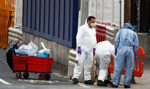 Forensic police work on London Bridge after attack