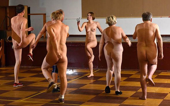 Nude exercise group