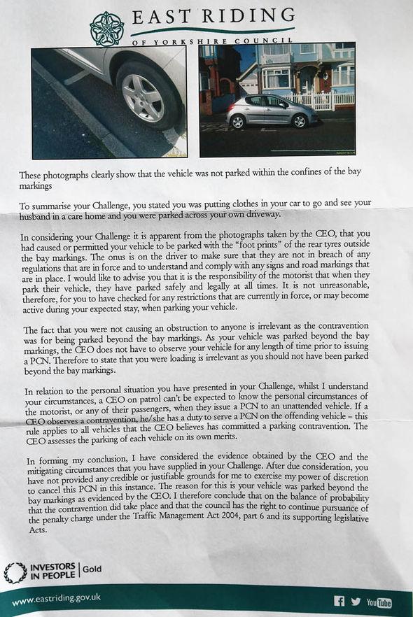 parking fine letter