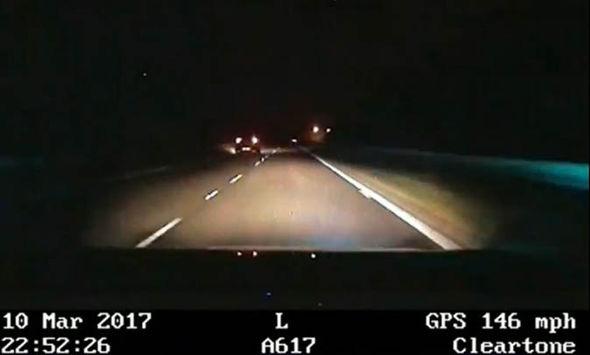 The dashcam showing speeds in 146mph