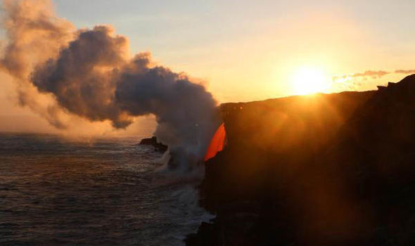 sea cliff near Hawaii's Kilauea volcano
