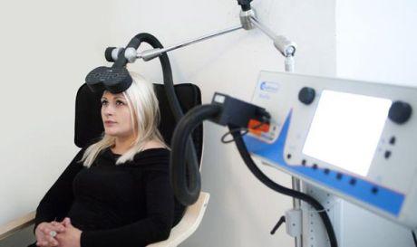 Woman undergoing test
