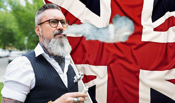 Man vaping with Union Jack in background