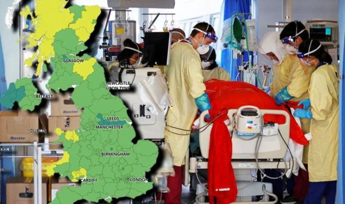 New Public Health England data identifies FIVE Covid hotspot areas - map