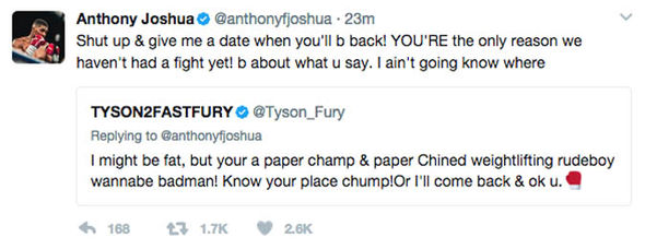 Anthony Joshua wants to know when Tyson Fury will be back