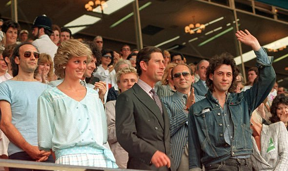 Diana pictured in the same Kanga dress at Live Aid in 1985