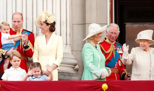 The Cambridges with Charles, Camilla and the Queen
