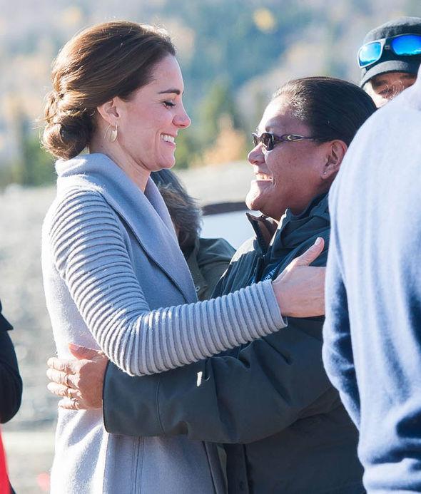 Kate hugs a fan