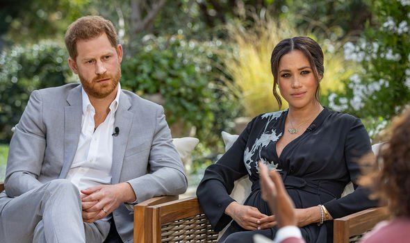 Meghan and Harry with Oprah Winfrey during their CBS Special in March