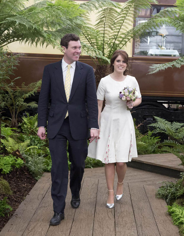 Jack Brooksbank and Eugenie at flower ahow