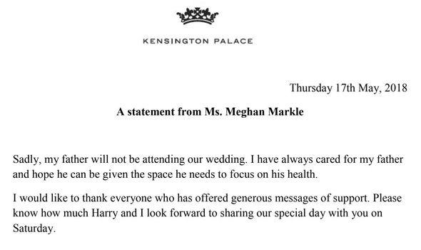 Royal Wedding: Meghan Markle statement
