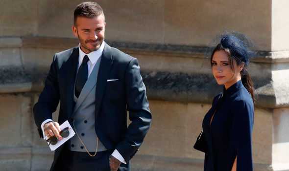 Victoria and David Beckham attending the Royal Wedding back in May