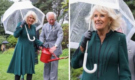 'Beautiful' Camilla dazzles in green dress and £5,000 earrings with Prince Charles today