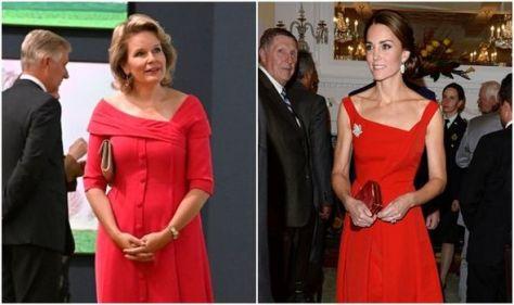 Queen Mathilde copies Kate Middleton with 'shoulder-framing neckline' red dress