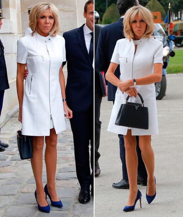 Brigitte Macron Wears Zip Up White Dress To Meet Donald