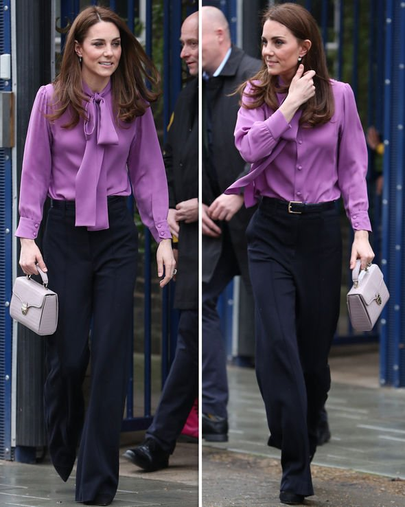 Kate Middleton news: Pictures of Duchess of Cambridge in purple blouse