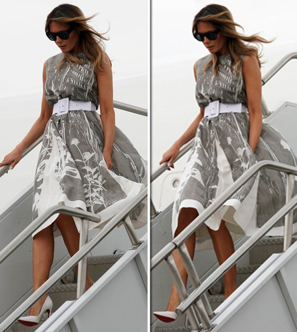 Melania Trump wearing a grey dress