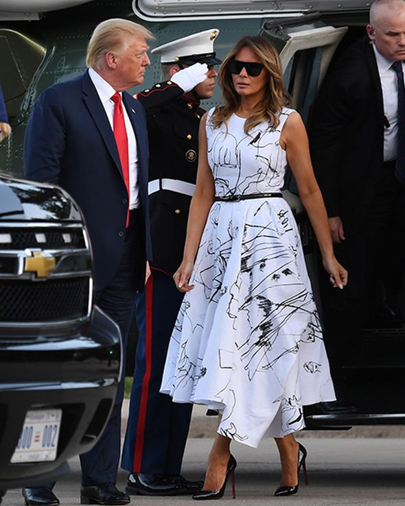 Melania Trump white designer dress