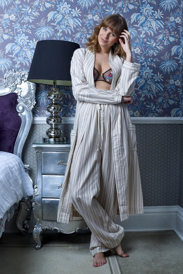 model wearing organic cotton pyjamas  Loungewear sets from Mint Velvet, Debenhams | Style | Life & Style organic pyjama trousers and robe celtic and co 1191081