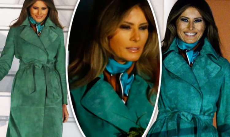 Melania Trump STUNS With Emerald Outfit Change To Land In