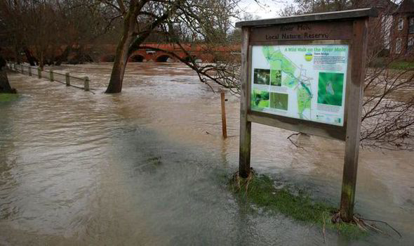 The River Mole in Leatherhead UK has burst its banks for the fourth time in three weeks
