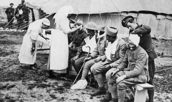 No-man's land nurse at British casualty clearing station, Western Front