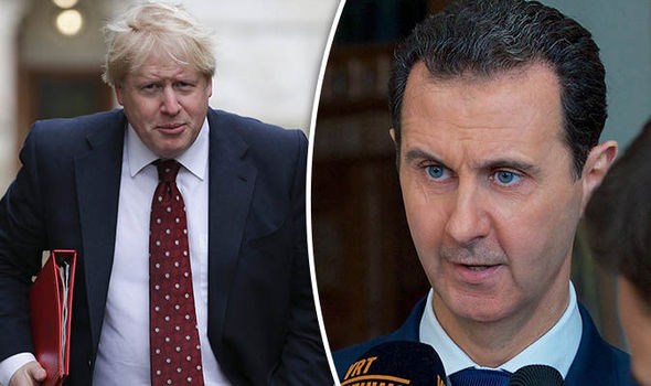 Boris Johnson walking and Bashar al-Assad