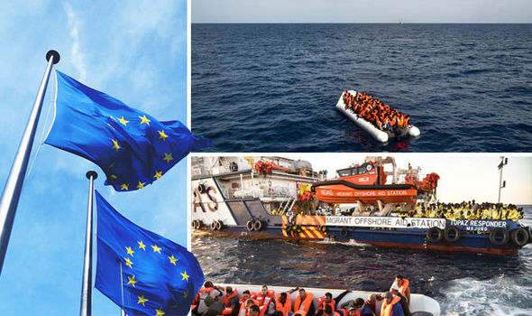 European Union flags and migrants on boat
