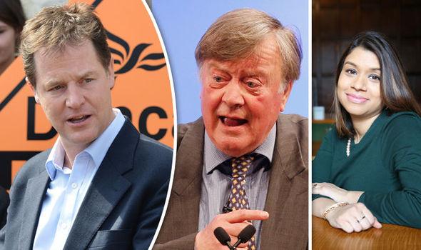Nick Clegg, Ken Clarke and Tulip Saddiq