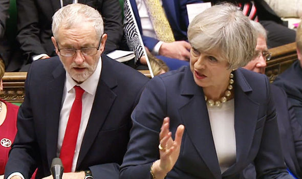 Theresa May and Jeremy Corbyn at PMQs
