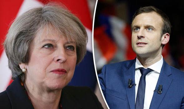 Theresa May and Emmauel Macron