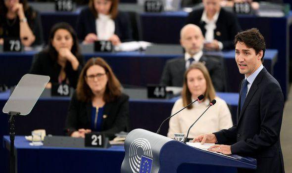 Candian PM Justin Trudeau addresses the EU parliament