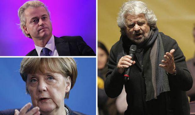 Angela Merkel, Beppe Grillo and Geert Wilders