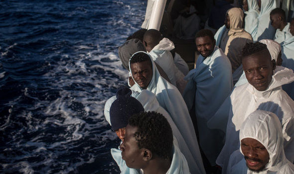 Migrants on a rescue ship in the Mediterranean