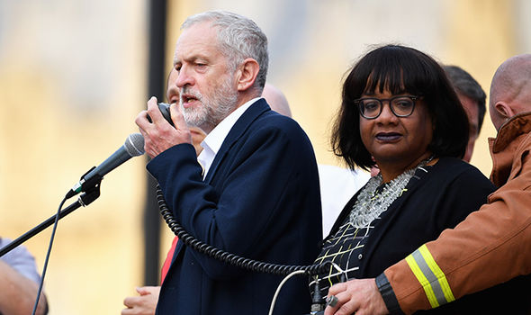 Diane Abbott and Jeremy Corbyn speak at rally