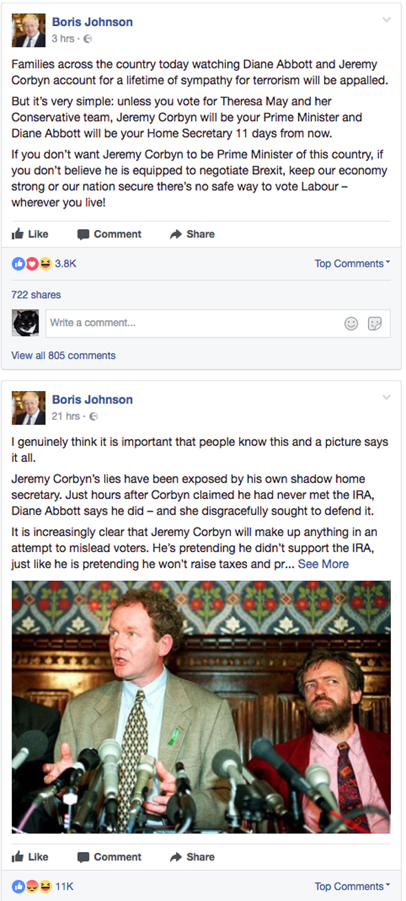Boris Johnson attacked Jeremy Corbyn on Facebook