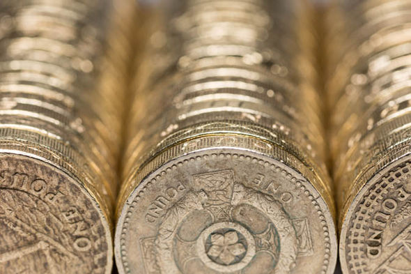Rows of pound coins