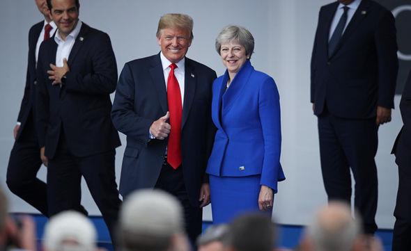Donald Trump and Theresa May  Theresa May draws on Winston Churchill to honour Donald Trump during UK visit | Politics | News Donald Trump and Theresa May 1418062