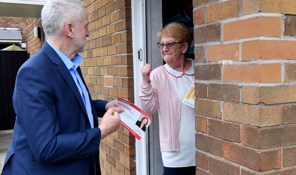 Jeremy Corbyn doorknocking woman