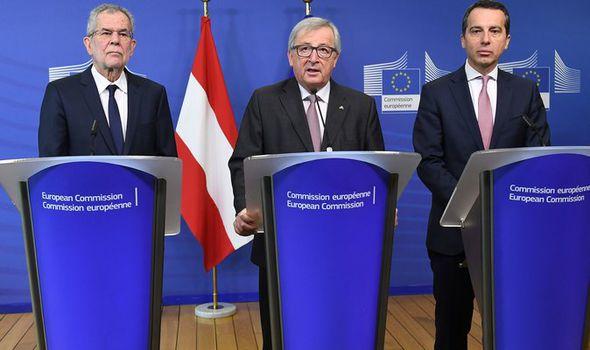 Jean-Claude Juncker, Alexander Van der Bellen and Christian Kern