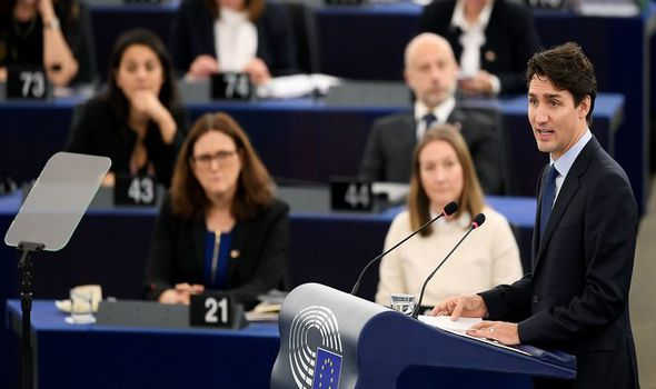 Justin Trudeau addresses the EU Parliament