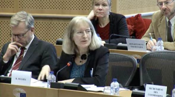 Dr Kirsty Hughes giving evidence at the EU Parliament