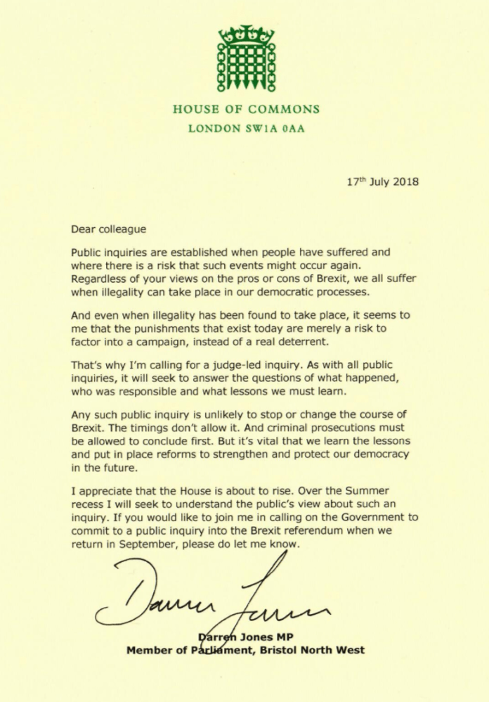 """The official letter from MP Darren Jones """"title ="""" MP Darren Jones """"official letter"""