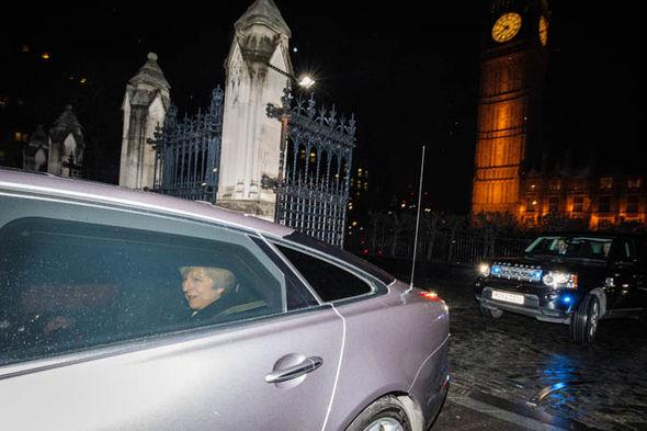Theresa May in a car